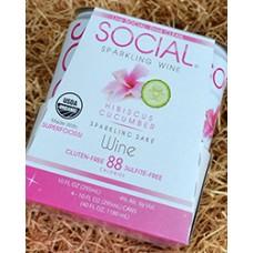Social Hibiscus Cucumber Sparkling Sake