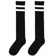 Black Knee High Striped Socks