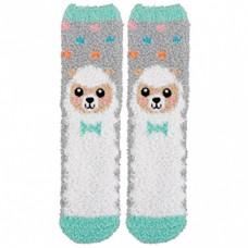 Adult Smiling Spring Lamb Fuzzy Socks